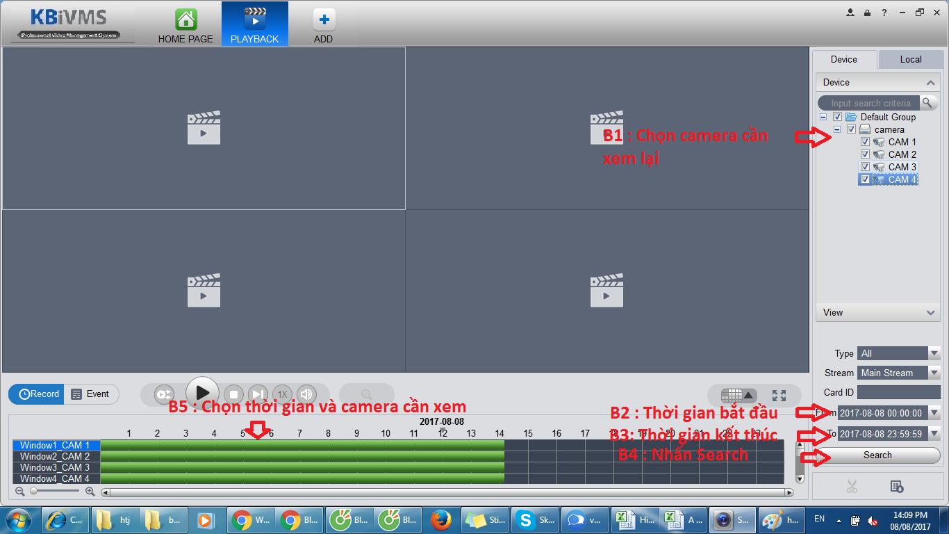 Cách xem lại camera Kbvision