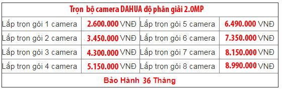 Trọn bộ camera dahua 2.0MP
